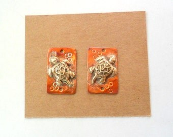Artisan Sea Turtle Rustic Copper and Brass Pendant Findings Pair