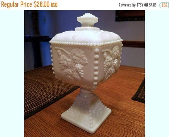 SPRING CLEANING SALE Vintage Westmoreland white milk glass hobnail footed compote covered bowl mid century / shabby chic / vintage decor / c