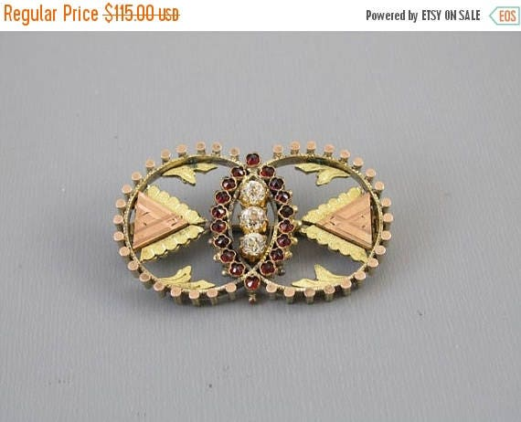 SPRING CLEANING SALE Antique mid Victorian Bohemian rose cut garnet and paste multi color gold filled circle brooch pin
