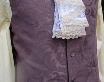 "Mens Plum/ Light Purple Brocade Waistcoat/ Vest Rococo Regency Pirate 36"" (V65)  FREE SHIPPING!!"