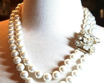 50% OFF Japan Double Strand Faux Pearl Vintage Necklace  Impressive Clasp