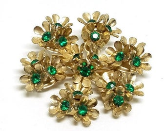 50% OFF Coro Vintage Floral Pin Green Rhinestones Gold Tone