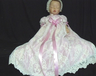 GOWN REBORN BABY Ivory Embroidered Tulle Dusty Rose Satin  Victorian