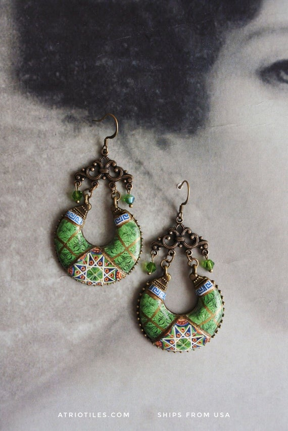 Portugal Antique Azulejo Tile GREEN Chandelier Earrings from Povoa do Varzim and Caldas da Rainha Bordallo Pinheiro Geometric Persian
