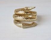 Vintage Whiting Davis Gold Coiled Snake Bracelet / Serpent Jewelry / Expansion Bracelet / Signed
