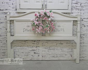 Queen Headboard, Distressed White Cottage Style  - Chic BD401 Shabby Farmhouse Chic, Paris Stencil