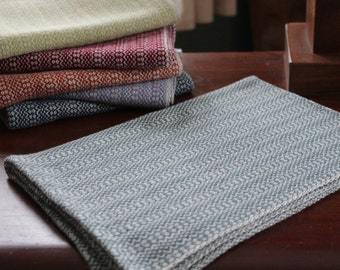 Handwoven Happy Tea Towel, Pewter (gray/green) and White