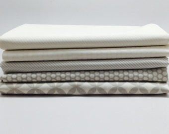 SUMMER SALE - 1/2 Yard Bundle (5) - Basics in Gray and Cream - Low Volume - Bonnie and Camille for Moda Fabrics