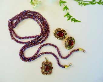 Destash Vintage Purple Jewelry Lot - Beaded Lariat Necklace, Rhinestone Clip On Earrings, Cabochon Rhinestone Pendant Act II