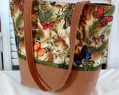 BUTTERFLY PRINT TOTE Bag Purse Ladies' Handbag Cotton Print Brown/Green/Purple/Orange/Golden Fabric Medium