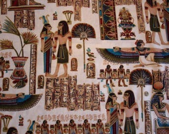 RARE EGYPTIAN FABRIC Timeless Treasures Sphinx Figures - 1 Yard