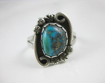 Size 9 Vintage Sterling Silver Turquoise Navajo Ring Signed BGH