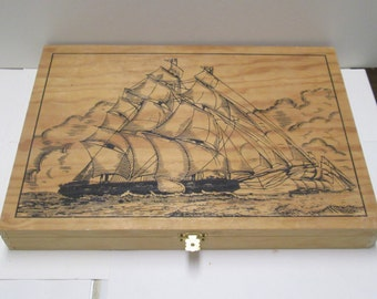 Wooden Box Vintage Wood Candy Gift Box Faux Pyrographic Nautical Sailing Ship Sail Boat Walkers Chocolates England Wood Burn