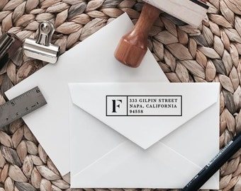 Custom Return Address Stamp | Initial Style | Wood with Handle or Self Inking