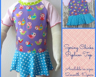 Spring Chicks Peplum Top Preorder, You Choose Size - great for easter, spring and summer