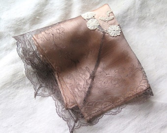 Silk Handkerchief with Antique Chantilly Lace Trim in Grey/Dusty Peach Silk Charmeuse One of Kind Hanky Assorted Antique Laces