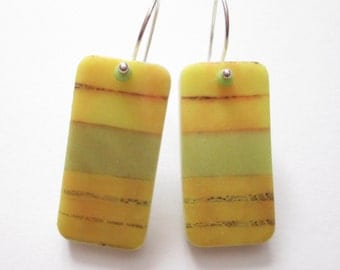 Yellow Stripe, domino earrings, rectangle earrings, domino jewelry