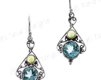 """1"""" Design Blue Topaz Peridot 925 Sterling Silver Earrings"""