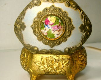 1950s Japan Cameo on Soft Funky Blue Enamel Box, Ornate Goldtone Metal Jewelry Box, Porcelain Lovers Focal, Shabby Romantic Scene