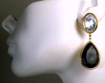 SALE, Large Black n Rhinestone Drop Earrings, Bridesmaid, Prom, Posts, Gold Metal 1993 Unused,Gift Worthy, Quantity for Weddings Available