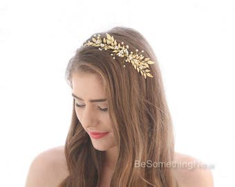 Gold Branch Wedding Headband, Pearl and Leaf Bridal Headpiece, Beaded tiara, Wind Blown Bridal Wreath, Grecian Laurel Crown