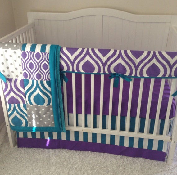 modern purple gray and teal baby girl crib bedding ready to. Black Bedroom Furniture Sets. Home Design Ideas