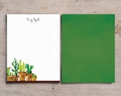 Personalized Set of 20 Notecards with Cactus Plants for Teacher Gift Coworker Gift or Personal Stationery