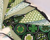 IRISH FABRIC BANNER--St. Patrick's Day--Fabric Banner Bunting Garland Flags--Green Shamrocks Clover--March 17--Lucky Irish--St. Patty's Day