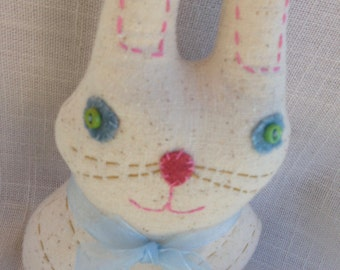 LINEN BUNNY DOLL--Sweet Sally Bunny Rabbit--Hand Embroidered--Whimsical Easter Gift--Easter Basket Filler--Polka Dots--Linen Look--Love