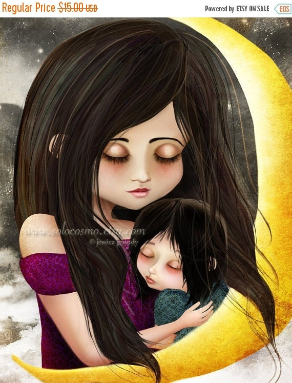 """CHRISTMAS SALE Fine Art Print """"Goodnight Baby"""" 8.5x11 or 8x10 - Mother and Daughter Embracing Fantasy Fairy Tale Portrait - Moon Mom Baby"""