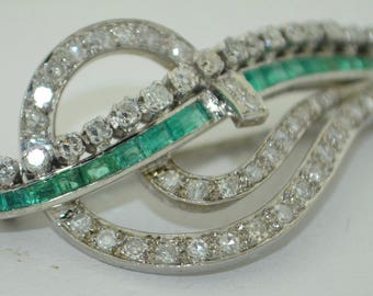 RESERVED for REB.    Art Deco 18K White Gold Diamond & Emerald Brooch