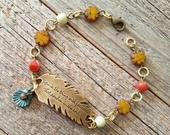 Handmade jewelry, handmade bracelet, flower jewelry, floral jewelry, quote jewelry, hope jewelry, boho jewelry, bohemian jewelry, rustic