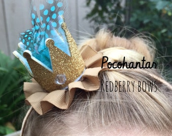 "POCOHANTAS CROWN with Rhinestone Crown Embellishment-approximately 2""x2"""