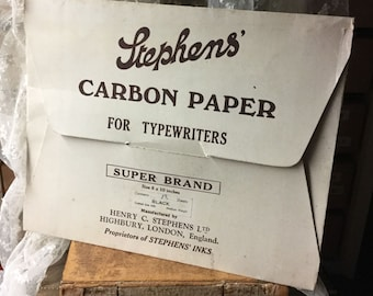 Stephens' Carbon Paper for Typewriters Super Brand 8 Sheets 8x10 Inches Made in England Carbon Paper and Sleeve Cover
