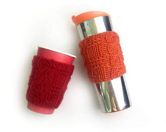 Coffe Cup Cozy, Knitted Coffee Cup Sleeve