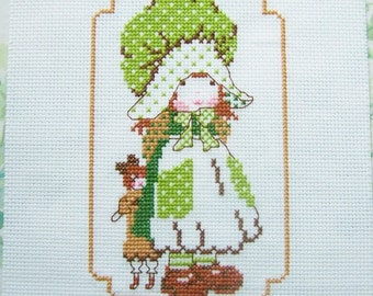 Girls Room Wall Art Girl in Green Dress, Holly Hobbie Type Design Completed Cross Stitch Sampler, Handstitched Embroidery Nursery Gift Decor
