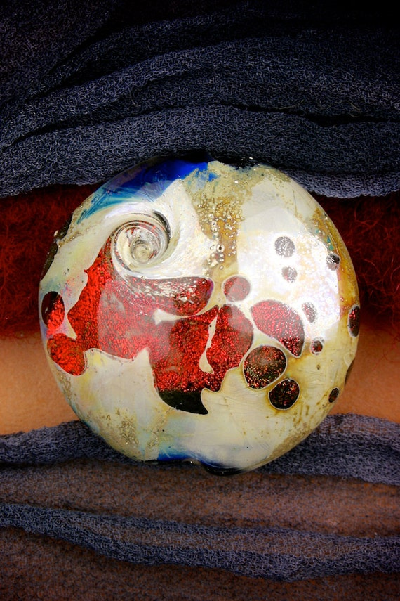 "Lampwork Beads SRA ""Mars"" Handmade Shimmering Red Dichroic Glass Focal Bead Lentil Fine Silver Lustre"