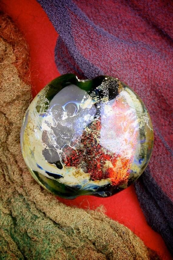 "Lampwork Beads SRA ""Apollo"" Handmade Spicy Dichroic Glass Focal Bead Lentil Fine Silver Lustre"