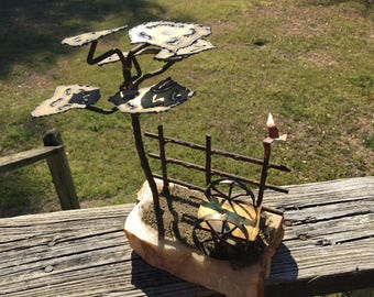 Vintage Brutalist Metal Art Sculpture--Garden Cart, Tree, Bird--Mid Century Decor--Jere' Style Tabletop Centerpiece