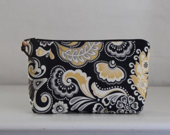 Yellow Swirly Wide Padded Zipper Pouch Gadget Case Cosmetics Bag - READY TO SHIP