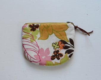 Retro Flowers Padded Round Zipper Pouch / Coin Purse / Gadget / Cosmetic Bag - READY TO SHIP