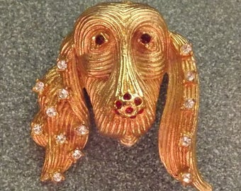 1960s goldtone jeweled dog brooch - charity for cats and kittens