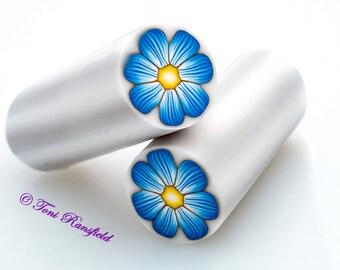 Blue Flower Polymer Clay Cane, Raw polymer Clay Cane, Millefiori Polymer Clay