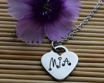 """Custom Handwriting  3/4"""" Heart Charm Necklace with your loved one's actual handwriting, Stainless Steel"""