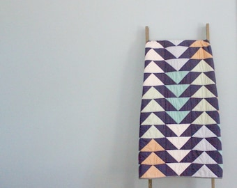 Custom Made-to-Order Bed or Throw Quilt in Colors of Your Choosing - Flying Geese Design
