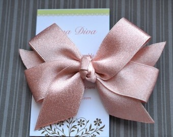 Shimmery Rose Gold Classic Diva Bow