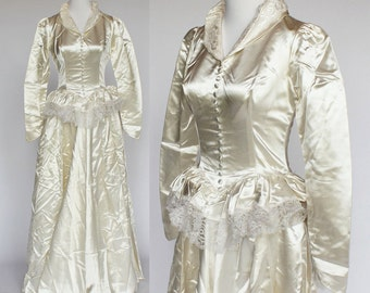 40's / 50's Satin Wedding Gown with Peplum / Long Sleeves / Button Front / XSmall to Small