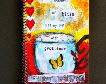 "Simple Moments of Bliss 5.5"" x 8.5"" Coil Bound Gratitude Journal, Stationery, Wholesale Notebooks"