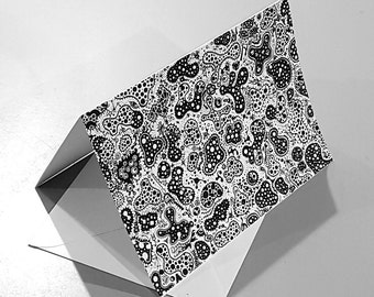 "Abstract black and white biological drawing greeting card print - ""Mitosis"""