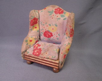 Vintage Miniature Dollhouse Furniture by Kage - Upholstered Living Room Chair  - 3/4 Scale